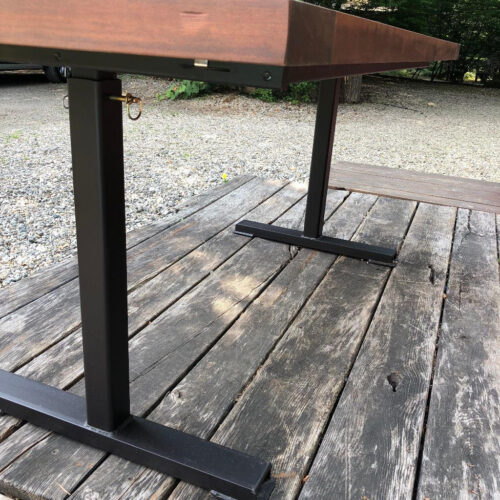 Adjustable Height Redwood Outdoor Table with Steel Base