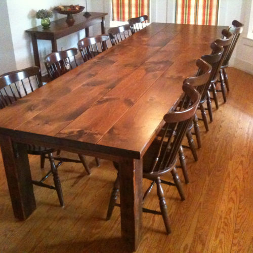 Dining Table in Reclaimed Antique Pine with Steel Bracket Supports