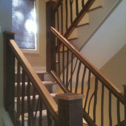 Antique Reclaimed Heart Pine Posts and Rails with Hickory Twig Spindles