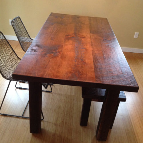 Antique Reclaimed White Pine Dining Table With Bench