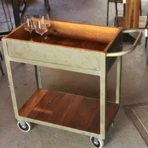 Bar Cart with Faux Zinc Finish and Antique Pine Lining