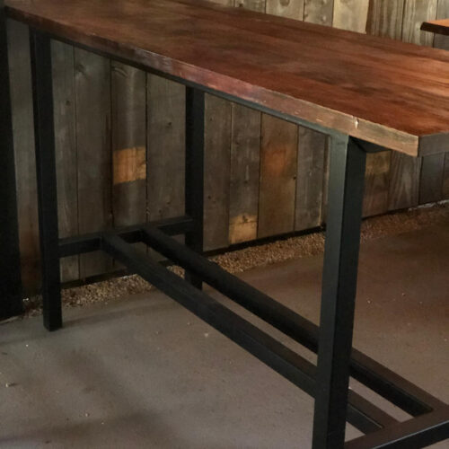 Bar Table in Antique Heart Pine with Steel Base
