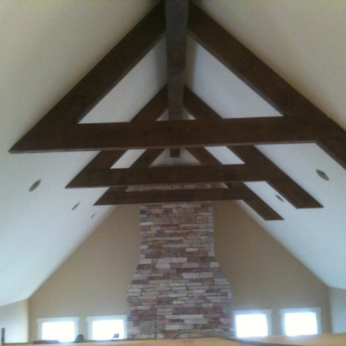 Antique Reclaimed White Pine Beams with Dark Walnut Stain