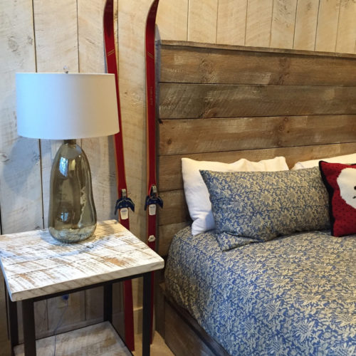 Reclaimed Barn Wood Headboard and Weathered White Pine White Washed End Table with Steel Base.
