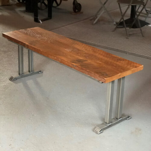 Bench/Coffee Table in Antique Oak with Steel Base