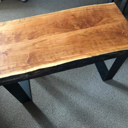 Bench/Side Table with Natural Edge Cherry Top and Steel Base