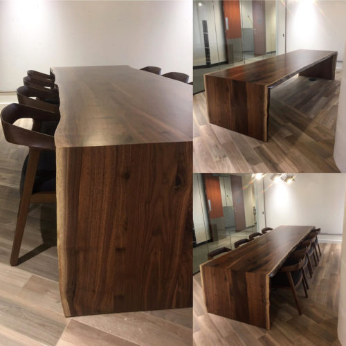 Board Room Conference Table in Natural Edge Walnut with Waterfall Supports