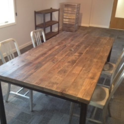 Board Table in Antique Reclaimed Structural Decking with Tubluar Steel Base