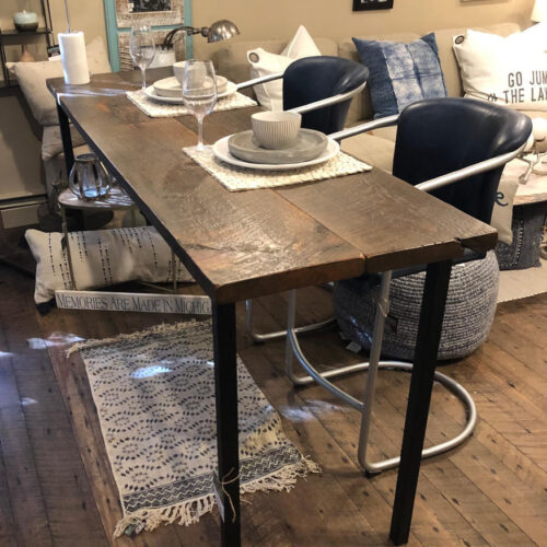 Buffet/Bar Table in Weathered White Pine with Dark Stain and Steel Base
