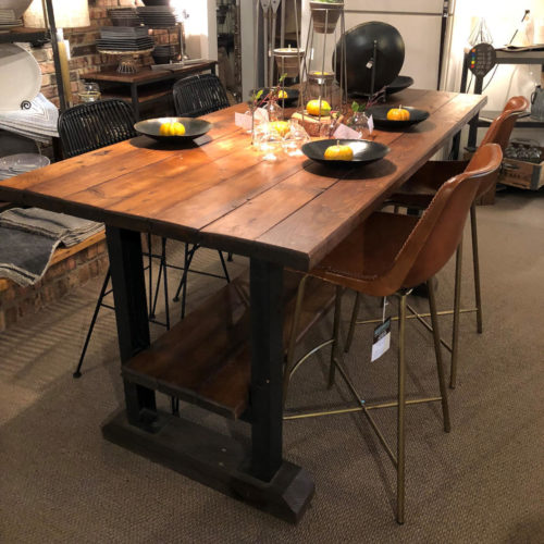 Dining Table/Buffet/Island in Reclaimed Pine with Industrial Base