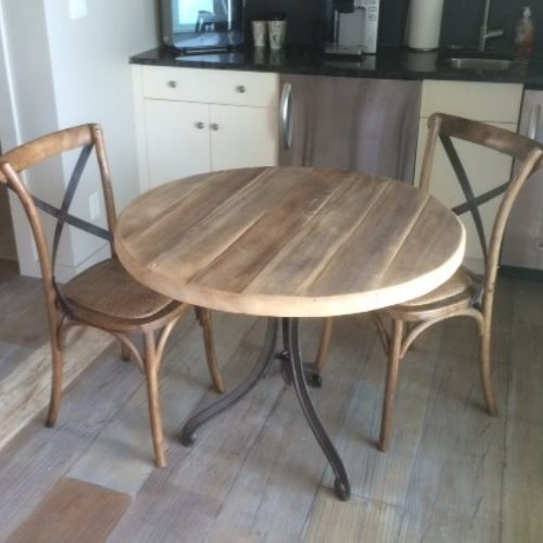 Cafe Table in American Elm with Vintage Cast Iron Base
