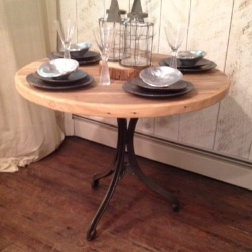 Cafe Table in Antique Reclaimed Maple with Vintage Cast Iron Base