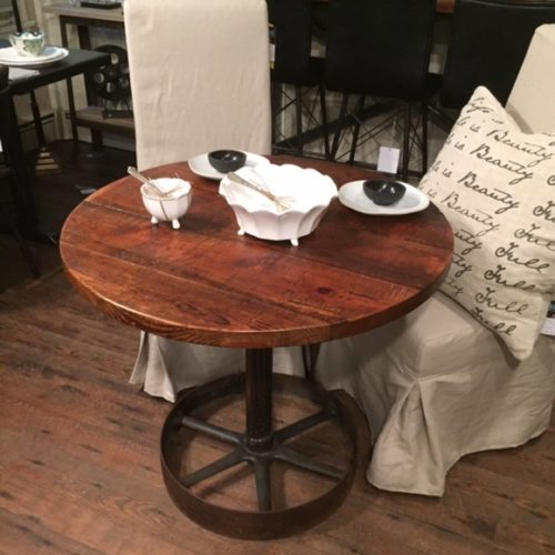 Cafe Table in Reclaimed Pine and Vintage Industrial Gear
