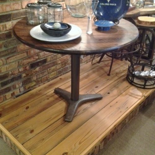 Cafe Table in Reclaimed Pine with Metal Base