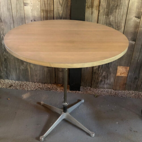 Cafe Table with Grey Oak Top and Mid Century Modern Base