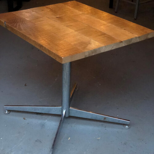 Cafe Table with Vintage Mid-Century Modern Base and Antique Oak Top