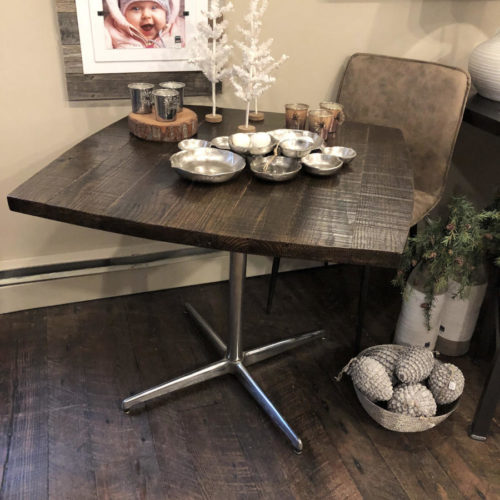 Cafe Table with Reclaimed Oak Top and Vintage Chrome Base