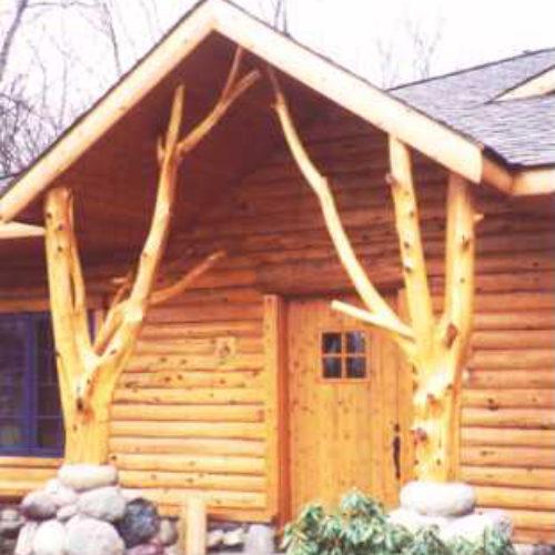 Peeled Cedar Entry Posts
