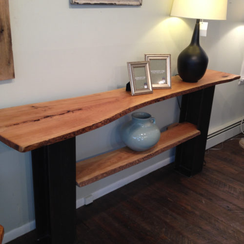 Console Table with Natural Edge Cherry Slab and Steel I Beam Base