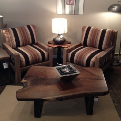 Club Chair with Reclaimed Oak Posts and Plush Poly/Foam Cushions. Fabric COM