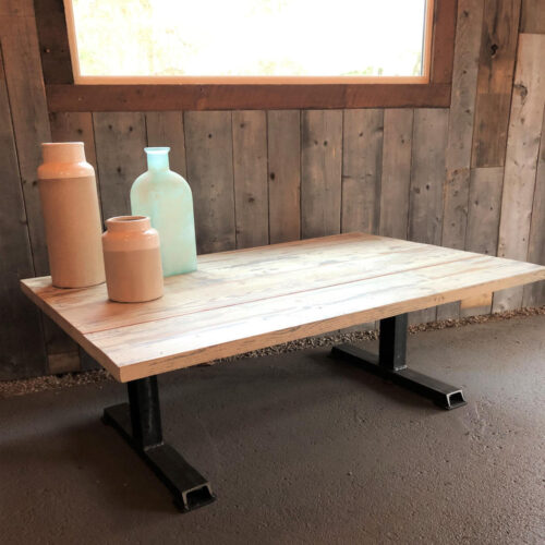 Coffee Table Antique Pine Planks with white wash and Steel Base