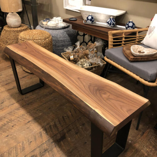 Coffee Table / Bench in Live Edge Walnut with Steel Base