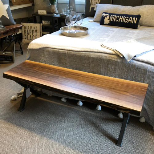 Coffee Table/Bench with Live Edge Walnut Slab and Steel X Base