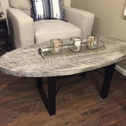 Coffee Table in Weathered White Pine with Beach Grey Finish and Steel Base