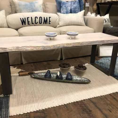 Coffee Table in White Oak with Cashmere Finish and Steel Base