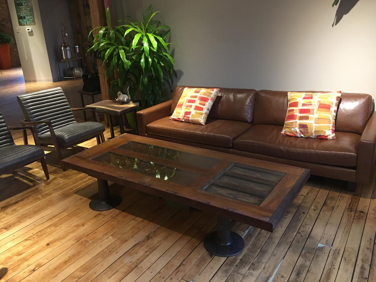 Coffee Table Made From Reclaimed Vintage Door With Cast Iron Legs