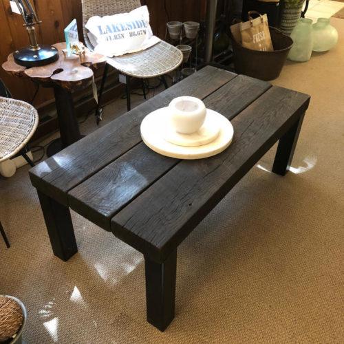 Coffee Table with Shou Sugi Ban (Flame Roasted) Oak Top and Tubular Steel Legs