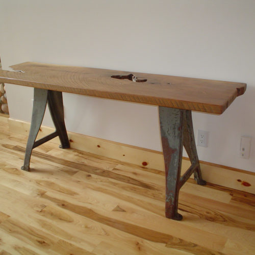 Console Table with Rough Sawn Walnut Top and Vintage Industrial Cast Iron Base