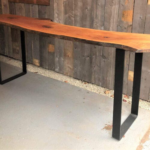 Console/Standing Desk with Live Edge Sycamore Slab and Steel Base