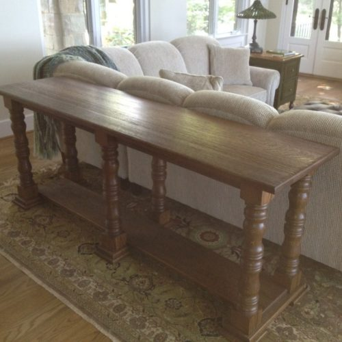 Console Table in Quarter Sawn White Oak with Chestnut Stain and Turned Leg Base