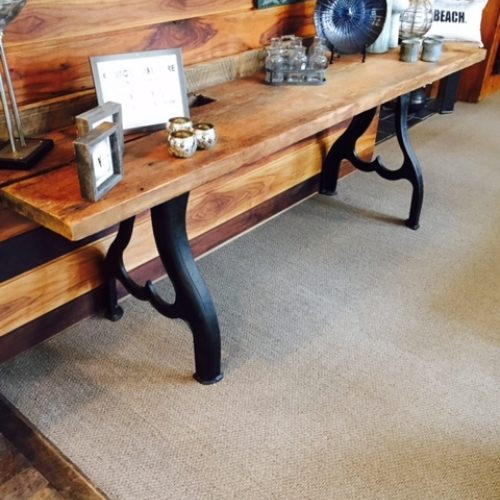 Console Table in Reclaimed Antique Heart Pine and Industrial Cast Iron Base