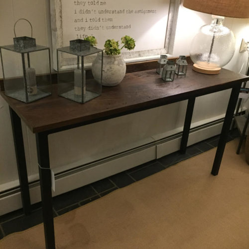 Console Table with Back Splash in Reclaimed Pine with Tubular Steel Base