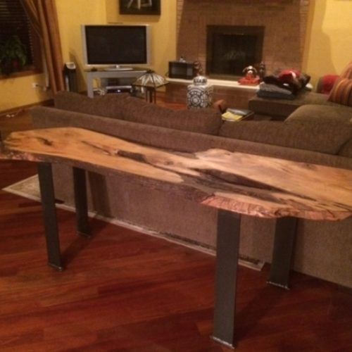 Console Table with Maple Slab and Steel Flat Bar Legs