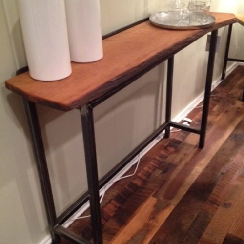 Console Table With Natural Edge Cherry and Tubular Steel Base