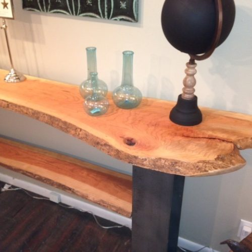 Console Table with Natural Edge Cherry Slabs and Steel I Beam Base