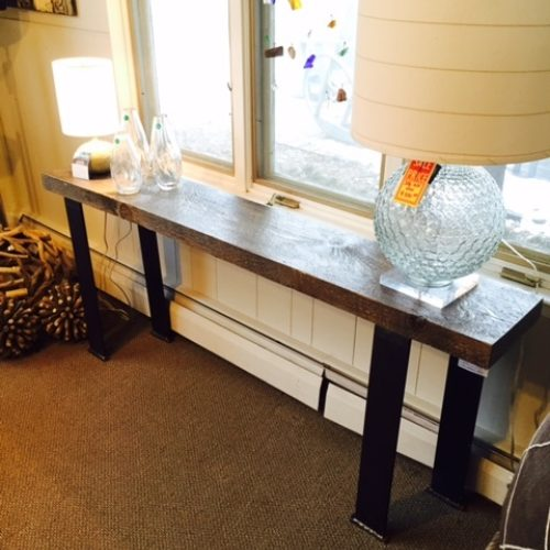 Console Table with Reclaimed Weathered White Pine Beam and Steel Flat Bar Off-Set Legs
