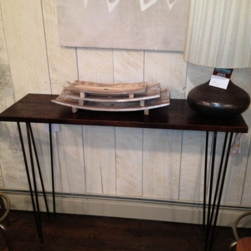 Console Table with Reclaimed Wood Top and Steel Hairpin Legs
