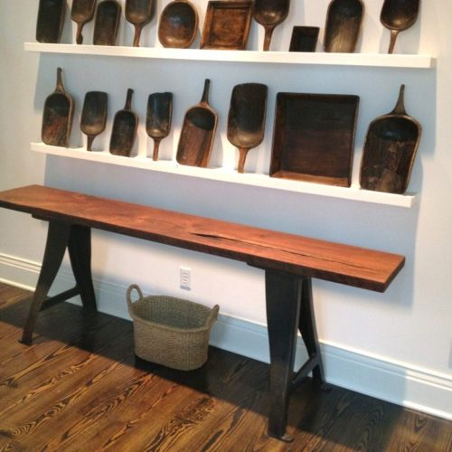 Console Table with Reclaimed Wood Top and Vintage Industrial Lathe Base