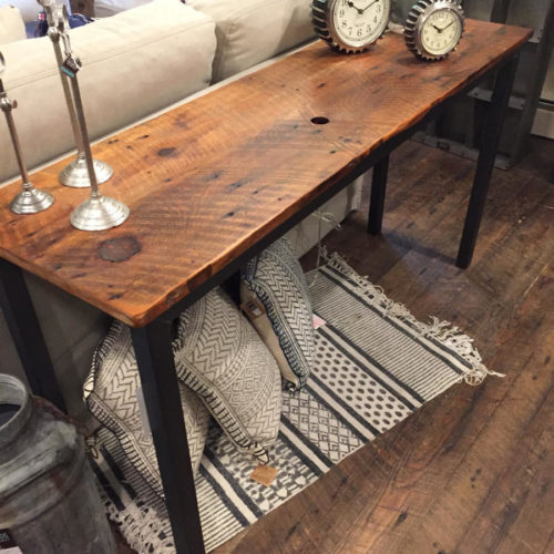 Console Table with Tubular Steel Base and Featherbone Factory Reclaimed Pine
