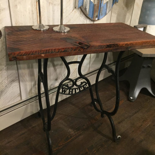 Console Table with Vintage Sewing Machine Base and Reclaimed Wood Top