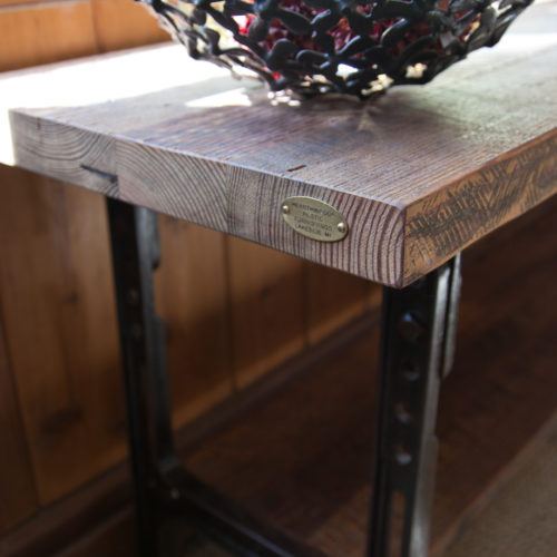 Console Table in Antique Heart Pine with Vintage Industrial Bsae