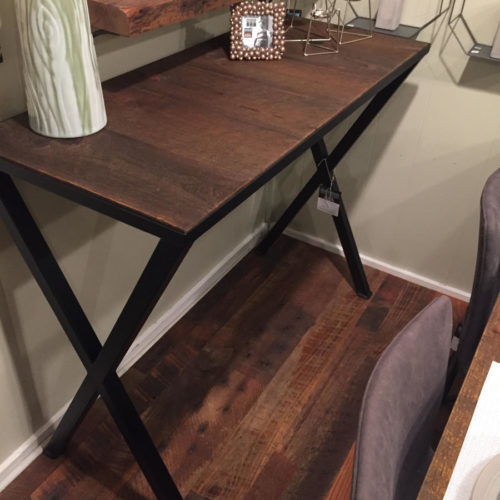 Console with Reclaimed Mixed Hardwoods and Steel X Base