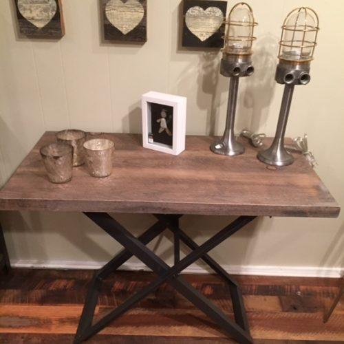Constole Table in Weathered White Pine with Folding Steel X Base