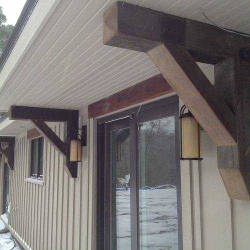 Corbels in Antique Reclaimed Pine with Outdoor Finish