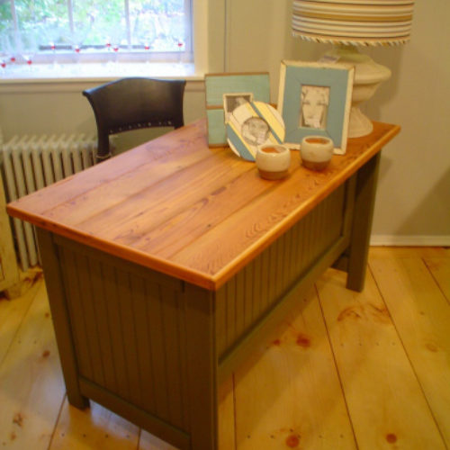 Cottage Desk with Bead Board and Reclaimed Antique Pine Top