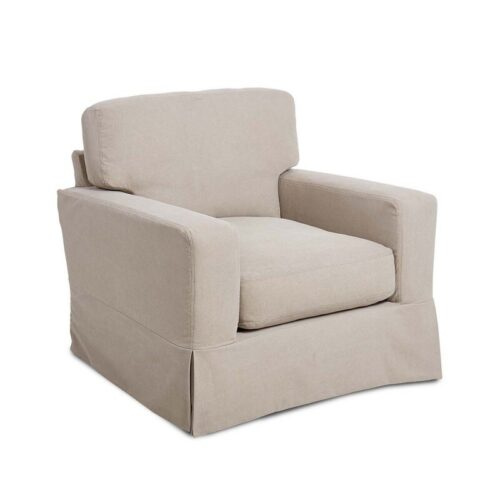 Cottage Swivel Chair in Stone Washed Canvas